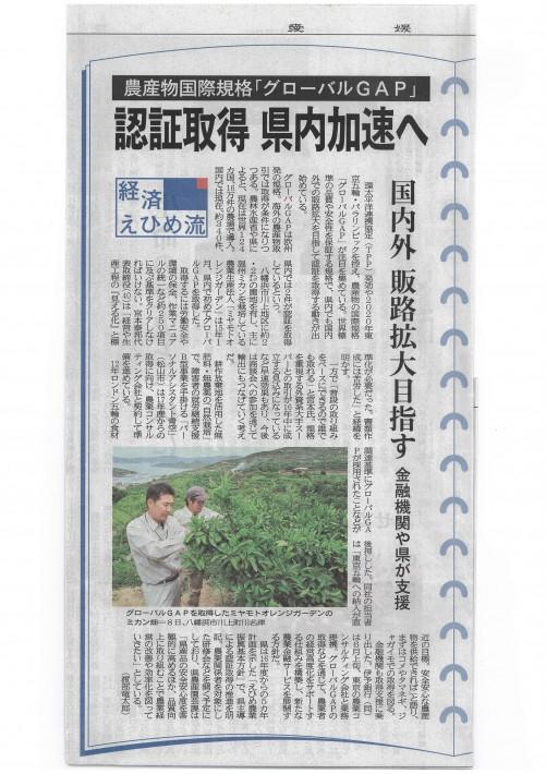 愛媛新聞:GLOBAL GAP:ミヤモトオレンジガーデン160620