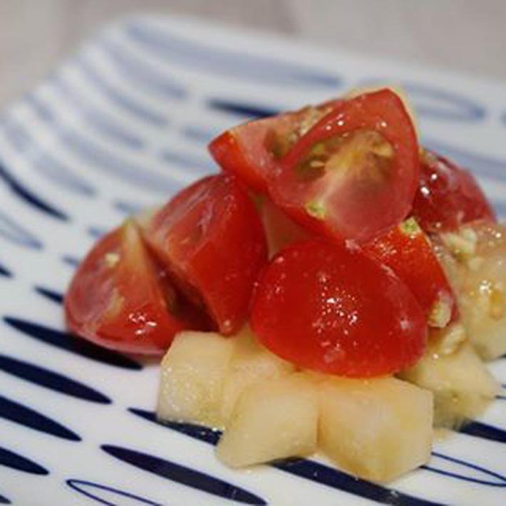 トマトとリンゴの塩みかん和え 青みかん