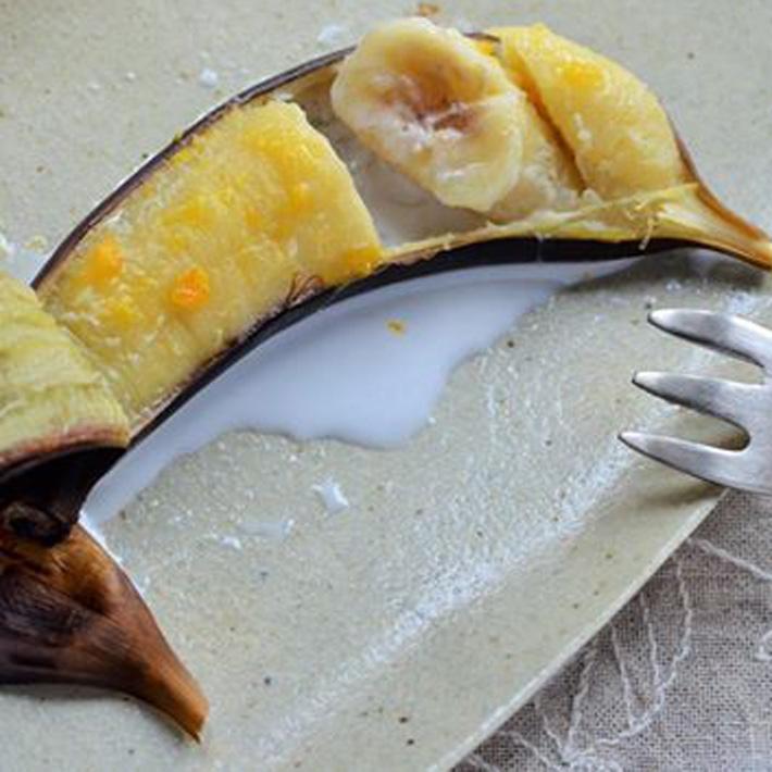 焼きバナナの塩みかん添え 完熟みかん