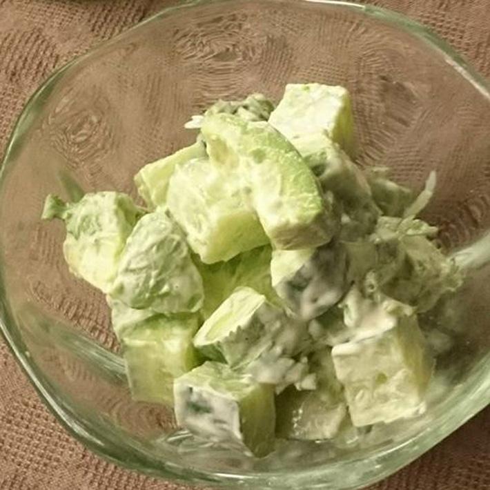 緑の野菜サラダ 青みかん